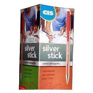 Caneta Cis Silver Stick Vermelho com 50 unidades