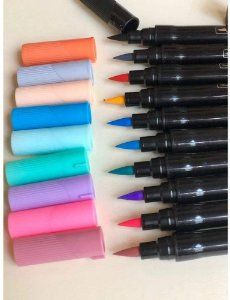 Caneta Bismark Brush Dualtip Pastel com 10 Unidades