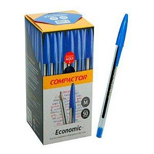 Caneta Compactor Economic Azul com 50 Unidades