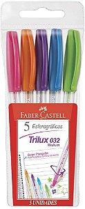 Caneta Faber Castell Trilux 032 com 5 Unidades