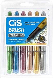 Caneta Cis Brush Metallic com 6 Unidades