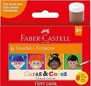 Guache Faber Castell Caras E Cores com 6 Unidades 15ML