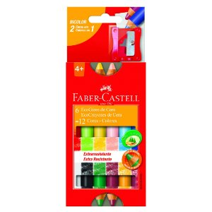 Giz De Cera Faber Castell Eco Bicolor com 6 Unidades