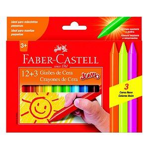 Gizão De Cera Faber Castell Jumbo com 12 Unidades + 3 Neon