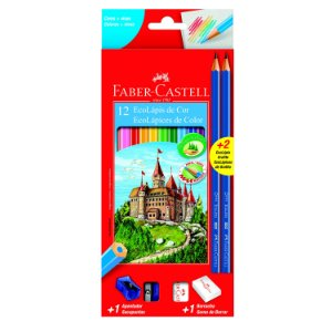 Lápis de Cor Faber Castell Eco Lápis com 12 Unidades + Apont