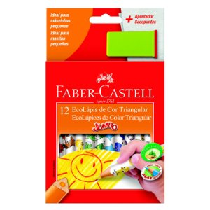 Lápis de Cor Faber Castell Jumbo Triangular com 12 Unidades