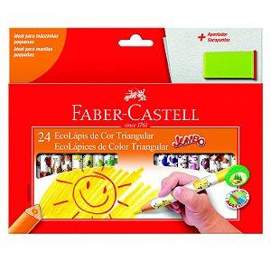 Lápis de Cor Faber Castell Jumbo Triangular com 24 Unidades