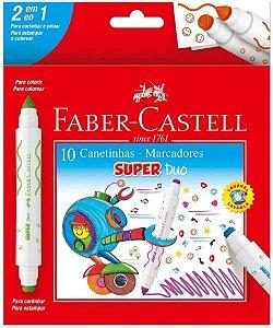Hidrocor Faber Castell Super Duo com 10 Unidades