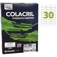 Etiqueta Colacril Cc180 30 por Folha 25,4mmx66,7mm com 100 f