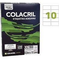 Etiqueta Colacril CC183 10 por folha 50,8x101,6 com 100 folhas