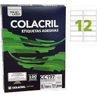 Etiqueta Colacril Cc197 12 por Folha 38,1mmx101,6mm com 100