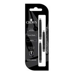Carga de Caneta Crown Tinteiro Preto com 3 unidades