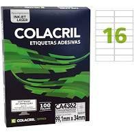Etiqueta Colacril Ca4362 16 por Folha 99,1mmx 34mm com 100 f
