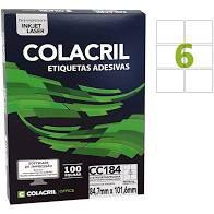 Etiqueta Colacril Cc184 6 por Folha 84,7mmx101,6mm com 100 folhas