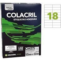 Etiqueta Colacril Ca4375 18 por Folha 105mmx33mm com 100 folhas