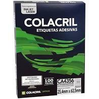 Etiqueta Colacril Ca4356 33 por Folha 25,4mmx63,5mm com 100