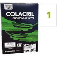 Etiqueta Colacril CA4367 1 por Folha 210mmx297mm com 100 folhas