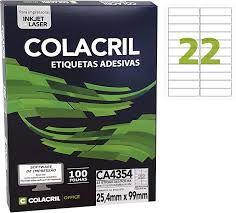 Etiqueta Colacril Ca4354 22 por Folha 25,4mmx99mm com 100 fo
