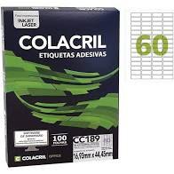 Etiqueta Colacril Cc189 60 por Folha 16,93mmx44,45mm com 100