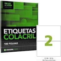 Etiqueta Colacril Cc186 2 por Folha 138,11mm 212,73mm com 100 folhas