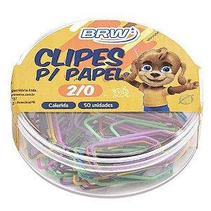 Clips Brw Colorido 2/0 com 50 Unidades