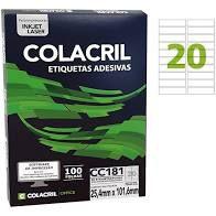Etiqueta Colacril CC181 20 por Folha 25,4mmx101,6mm com 100 folhas