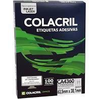 Etiqueta Colacril CA4360 21 por Folha 63,5mmx38,1mm com 100