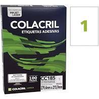 Etiqueta Colacril Cc185 1 por Folha 279,4mmx215,9mm com 100