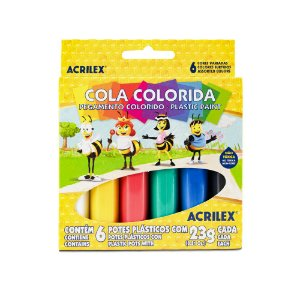 Cola Colorida Acrilex com 6 unidades