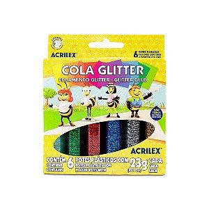 Cola com Glitter Acrilex 23g com 6 Unidades