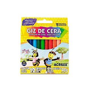 Giz de Cera Acrilex com 12 unidades