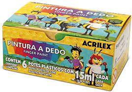 Pintura a Dedo Acrilex com 6 Unidades
