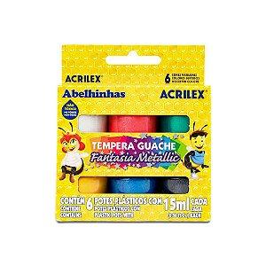 Guache Acrilex Fantasia Metallic com 6 Unidades 15Ml