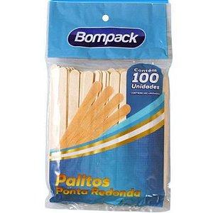 Palito Picolé Bompack Natural com 100 Unidades