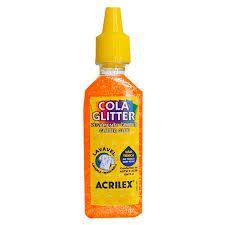 Cola com Glitter Acrilex Laranja 35G