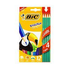 Lápis de Cor Bic Evolution 12 Unidades + 4 Lápis Escrever