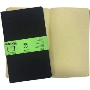 Filibook Note Filiperson Preto/Marfim 21x12,5 com 2 unidades