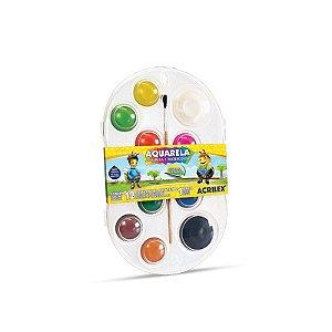 Aquarela Acrilex Pastilha com 12 cores + pincel