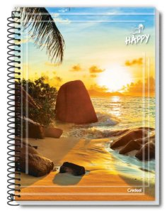Caderno Credeal 1X1 Happy Paisagem Espiral 80 folhas