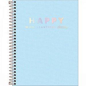 Caderno Tilibra 10X1 Happy College Azul 160 folhas