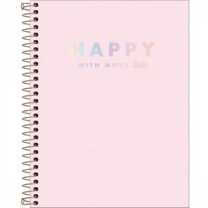 Caderno Tilibra 10X1 Happy College Rosa 160 folhas