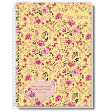 Caderno Credeal 1X1 Pão Diário Floral Espiral 96 folhas
