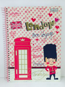 Caderno Kajoma 1X1 Vintage Espiral 96 folhas