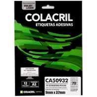 Etiqueta Colacril A5 Ca50932 70 por Folha 32mmx9mm com 12 fo