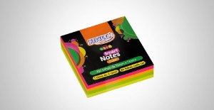 Bloco Adesivo Brw Cube Colorido Neon 76mmx76mm 200 folhas