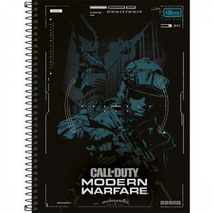 Caderno Tilibra 10X1 Call Of Duty Soldado Azul 160 folhas