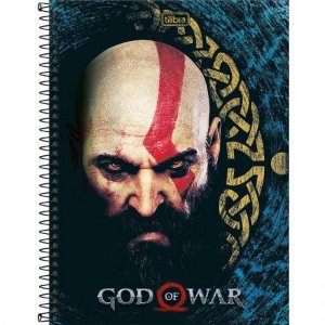 Caderno Tilibra 10X1 God Of War Rosto de Kratos 160fls