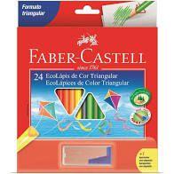 Lápis de Cor Faber Castell Triangular 24 Cores + Apontador