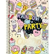 Caderno Tilibra 10x1 Capricho Rainbow Party 200 folhas