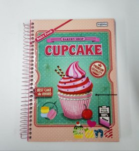 Caderno Kajoma 10X1 Cand Bakery Shop CupCake 200 folhas